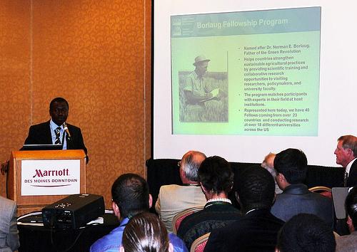 Emmanuel Amoakwah speaking at the event