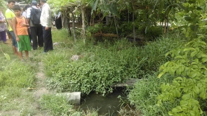 Govinda's biogas plant, slurry pit, irrigation canal